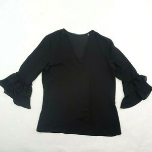 Tahari Solid Black Sheer Silky Tunic Blouse Ruffle